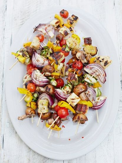 Chargrilled veg kebabs