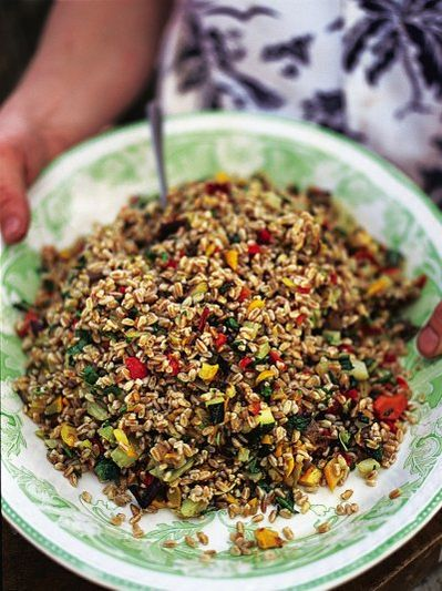 Farro salad with roasted veg
