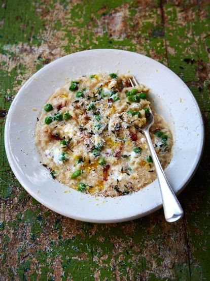 Pea and goat's cheese risotto