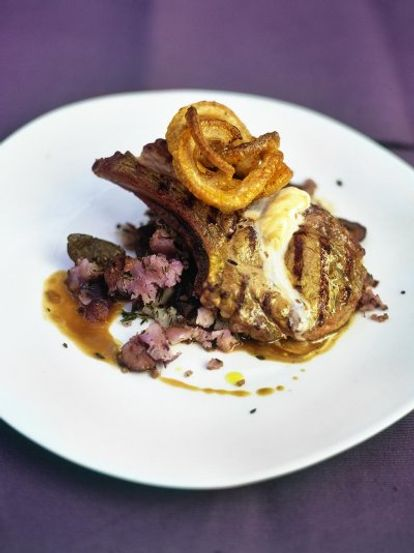 The best pork chops with fresh bay salt, crackling and squashed purple potatoes