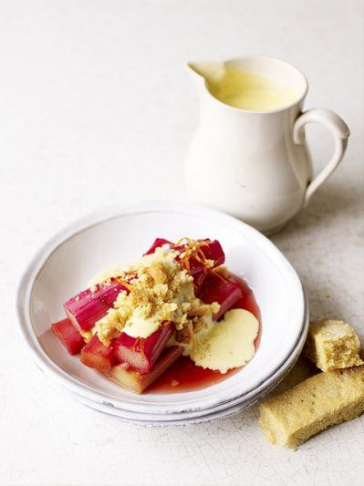Good old rhubarb and custard with the best crumbly shortbread