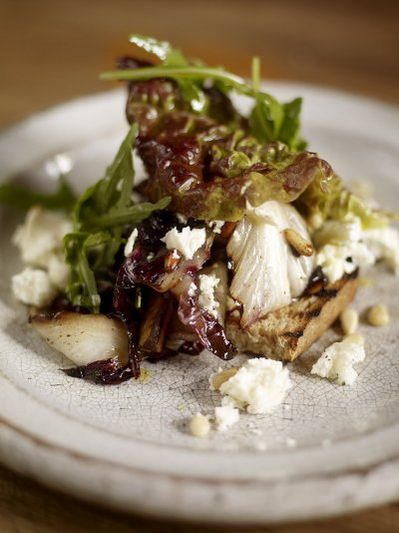 Warm winter salad of radicchio with wild rocket and feta