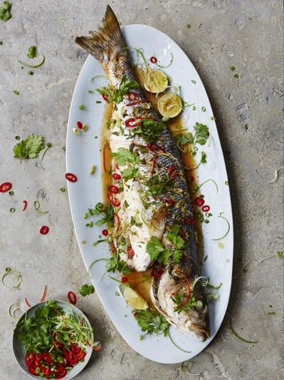 Asian-steamed sea bass