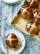 Chocolate cherry hot cross buns