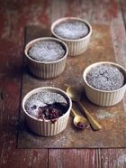 Chocolate & blackberry self-saucing puddings