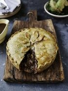 Warwick Davis' steak & Stilton pie