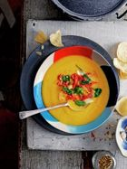 Sweet potato, coconut & cardamom soup