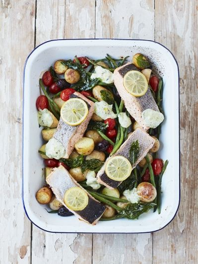 Roasted salmon & veg traybake