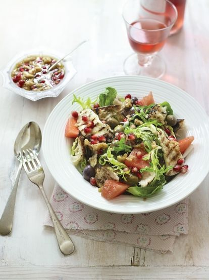 Bread, watermelon & halloumi salad
