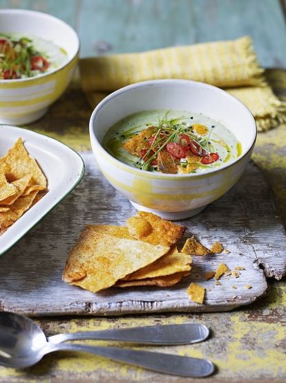 Chilled avocado soup with tortilla chips