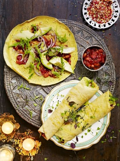 Chickpea flour pancakes with salad & chutney