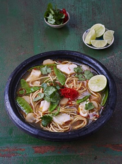 Asian noodle broth with fish