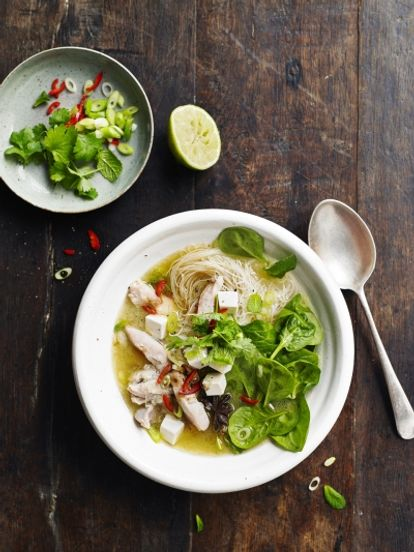 Chicken & tofu noodle soup