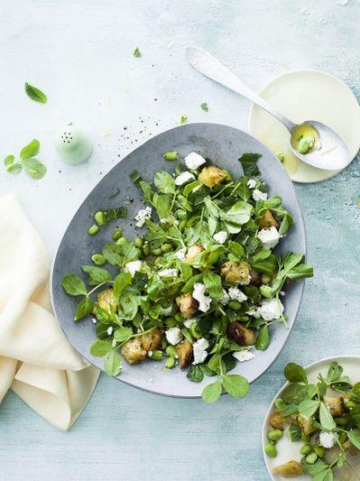 Drunken broad bean & goat's cheese salad