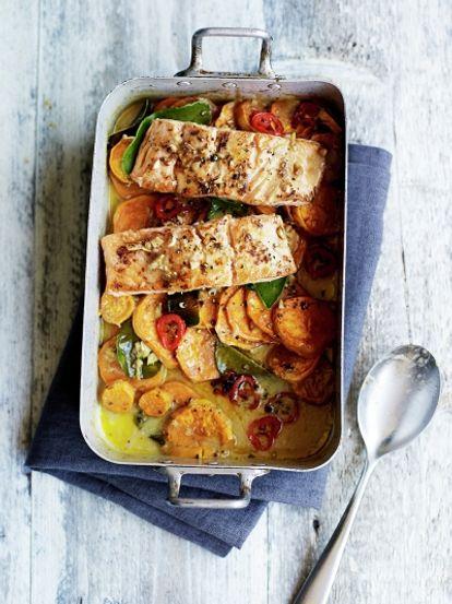 Asian Salmon Sweet Potato Traybake