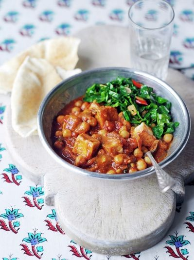 Tofu & chickpea curry with spring greens