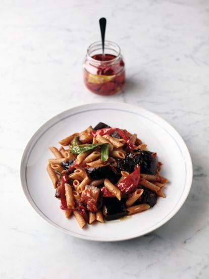 Aubergine penne arrabbiata, food waste recipe
