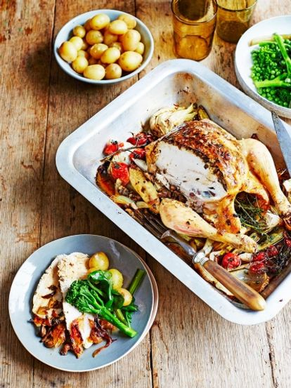 Mushroom-stuffed roast chicken