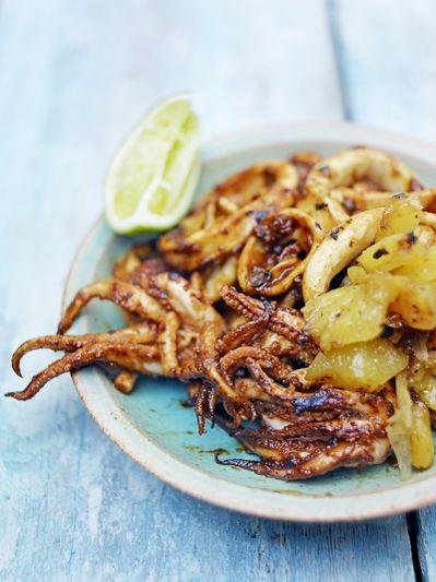 Squid with tamarind recado & pineapple salsa