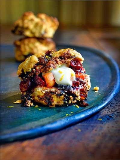 Christmas pudding scones