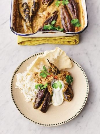 Stuffed curried aubergines