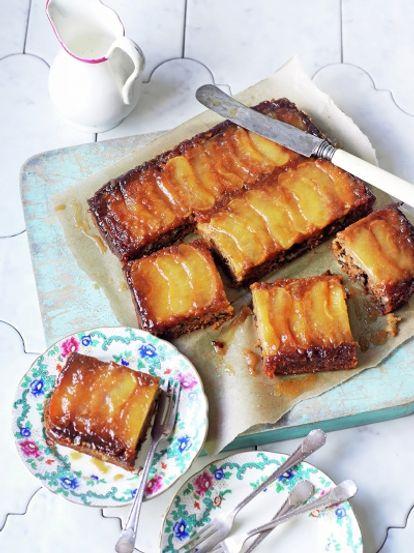 Vegan toffee apple upside-down cake