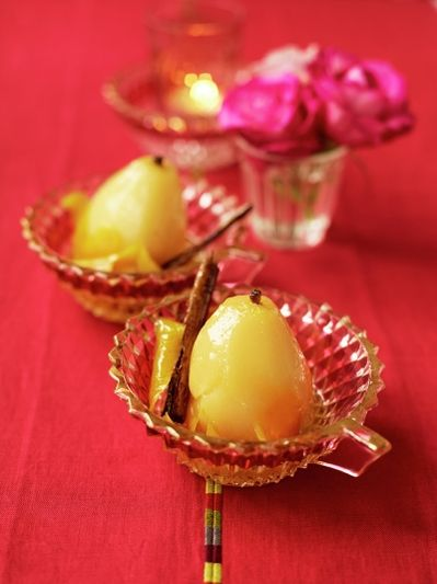 Citrus-poached pears