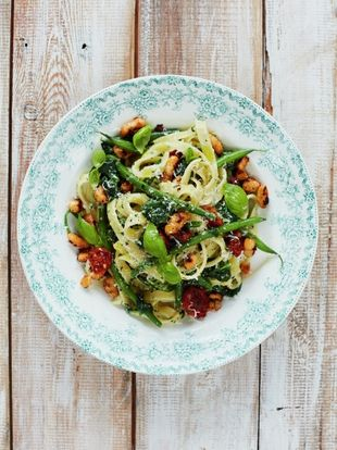 Jamie oliver official website for recipes books tv shows and diy basil pesto tagliatelle with tomatoes beans greens forumfinder Image collections