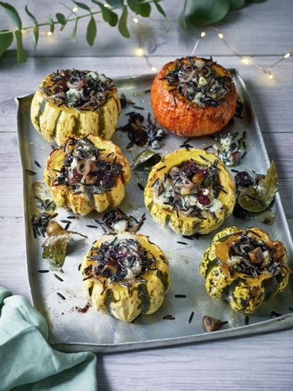Roasted baby pumpkins with chestnut, cherry & Dolcelatte stuffing