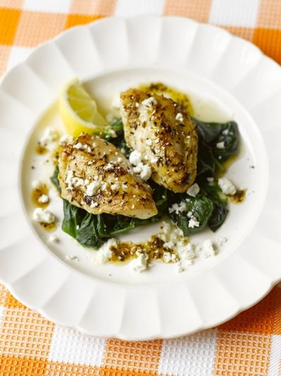 Monkfish with spinach & feta