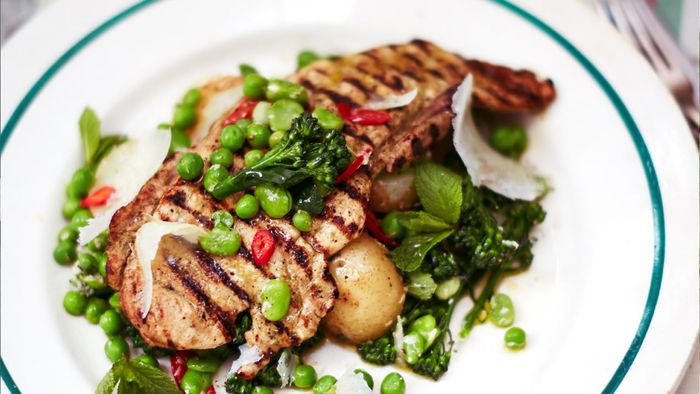 Jamie's chargrilled pork escalopes