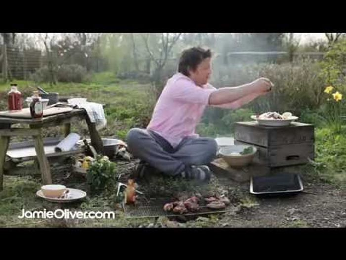 BBQ fish and salad: Jamie Oliver