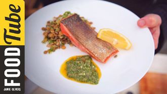 Panfried crispy salmon with salsa verde: Bart's Fish Tales