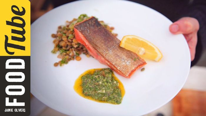 Panfried Crispy Salmon with Salsa Verde