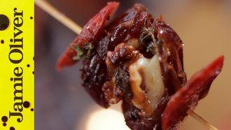 Cheese & chorizo stuffed date skewers: Jamie Oliver
