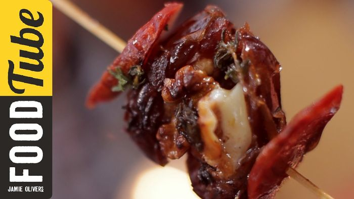 Cheese & chorizo stuffed date skewers: Jamie Oliver