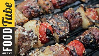 BBQ lamb kebabs with pomegranate glaze & tahini dressing: DJ BBQ