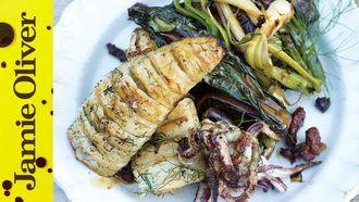 Concertina squid & leeks: Jamie Oliver