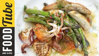 Asparagus & mixed fish grill: Jamie Oliver