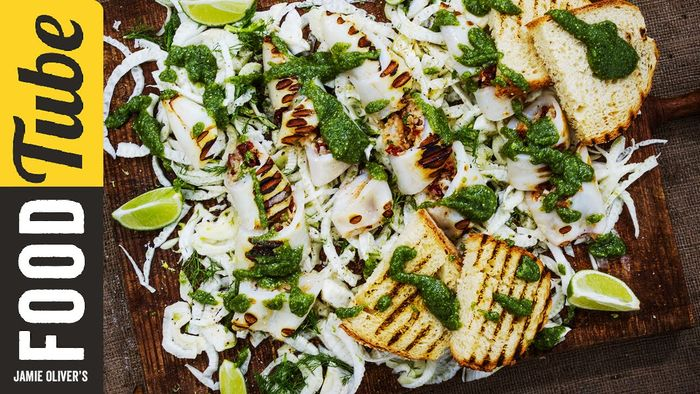 Chargrilled squid with a pesto dressing: Akis Petretzikis