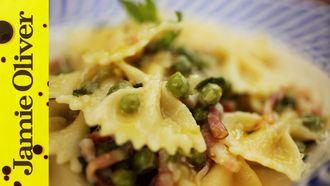 Pancetta, pea & mint farfalle: Gennaro Contaldo
