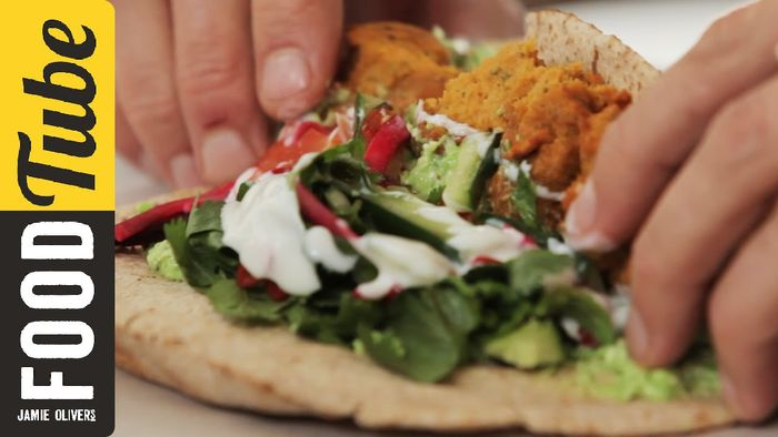 Sweet potato falafel with pea & feta hummus: Aaron Craze
