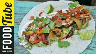 BBQ chicken fajitas with spicy guacamole: DJ BBQ