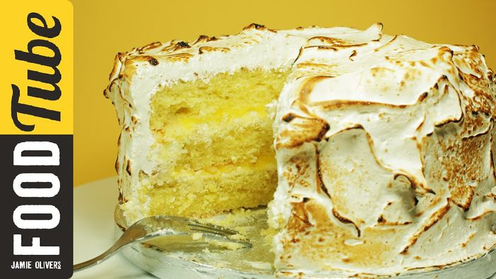 Triple-Layer Lemon Meringue Cake with Marshmallow Icing