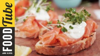 Smoked salmon & horseradish canapés: Jamie Oliver