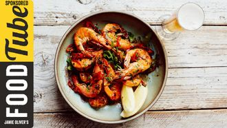 Chilli & garlic prawns with beer matching: John Quilter