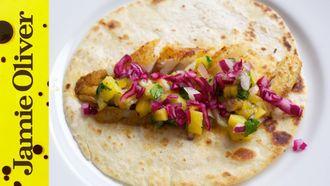Kick-ass fish tacos and mango salsa: DJ BBQ