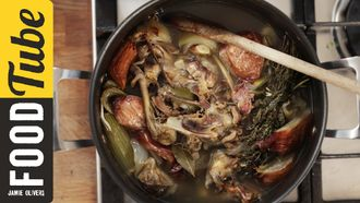 Easy chicken stock: Jamie Oliver's Food Team