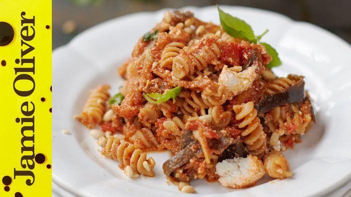 Aubergine, tomato and ricotta pasta: Jamie Oliver