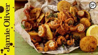 Crispy fried squid: Jamie Oliver